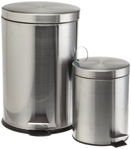 Prime Pacific Pro Cook Stainless Steel Trash Cans, Set of 2, 5 and 20 Liter (Stainless Steel Trash Can 5 Liter compare prices)