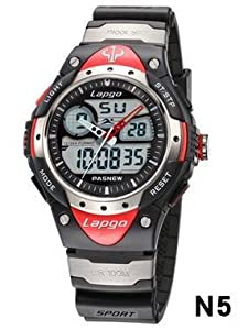 PASNEW High Quality Water-proof Dual Time Children Boys Girls Sport Watch Black+Red