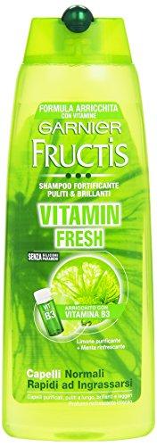 Garnier Fructis - Shampoo Fortificante Puliti & Brillanti - Vitamin Fresh, Capelli Normali Rapidi Ad Ingrassarsi - 250Ml