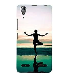 Yoga on the Beach 3D Hard Polycarbonate Designer Back Case Cover for Lenovo A6000 :: Lenovo A6000 Plus :: Lenovo A6000+