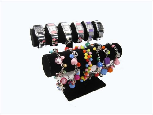Black Velvet TBar Display Stand for Jewelry Bracelet, Bangles, Watches, Pack of 2 Picture