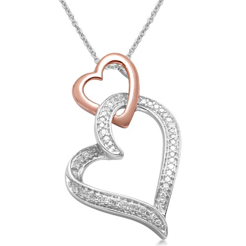 18k Rose Gold Plated Sterling Silver Double Hearts Pendant Necklace (1/6 cttw, I-J Color, I3 Clarity), 18