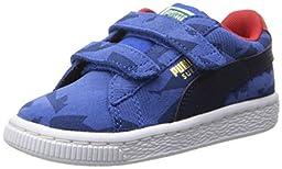 PUMA Suede Camo Velcro Sneaker , Nautical Blue/Peacoat/High Risk Red, 6 M US Toddler