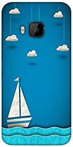 Snoogg Sailing Boat And Clouds Designer Protective Back Case Cover For HTC M9