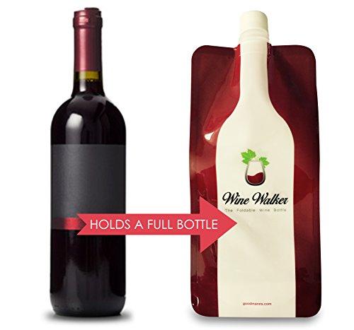 Foldable Wine Bottle - Wine to Go | Reusable Travel Flask Skin | Collapsible & Flexible Carrier Bottles Best For Hidden Alcohol