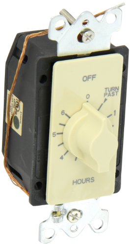 Nsi Industries Tork A506H Spring Wound Auto Off In-Wall Time Switch, 6 Hours Timer Length, Ivory