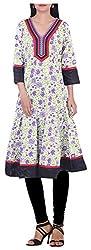 BleuIndus Women's Cotton Straight Kurta (KRT-354_M, Multi-Coloured, M)