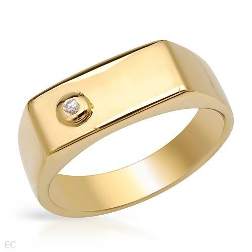 Gentlemens Ring With Cubic zirconia Crafted in Gold plated Silver. Total item weight 7.5g (Size 10)