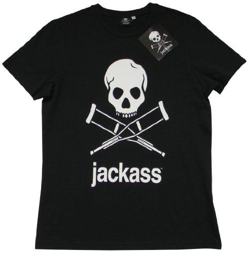 ACTS- MTV Jackass -  T-shirt - Logotipo - Collo a U  - Maniche corte  - Uomo Nero  nero