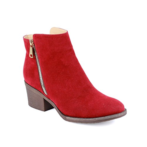 Reneeze PAMA-01 Womens Fashionable Stacked Heels Ankle Booties - RED-10