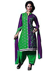 Rudra Textile Women's Green Cotton Punjabi Suit