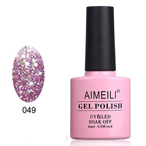 AIMEILI Soak Off UV LED Gel Nail Polish - Princess (049) Glitter 10ml (7 Day Nail Polish)