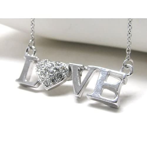 White Gold plated Crystal Heart Love Chain Necklace