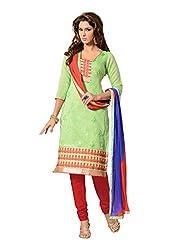 Fabdeal Womens Chanderi Unstitched Dress Material ( HVB2DR4218NCR_Light Green )