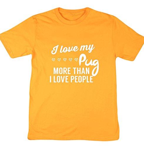 HippoWarehouse I love my Carlino More Than I Love People Unisex manica corta t-shirt Gold X-Large