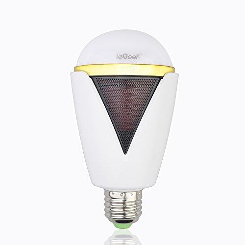 ieGeek Bluetooth4.0 スピーカー内蔵 LED電球【1年間の安心保証】調光・調色タイプ スマートフォン/アイパッド/タブレットなど対応のスマートライト 5W E26/E27口金 音楽再生機能付H-1007 (ホワイト)