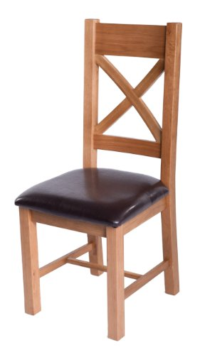 K.Interiors Collection Wood Bordeaux Cross Back Chair with Padded Seat with Lacquer Finish, Brown