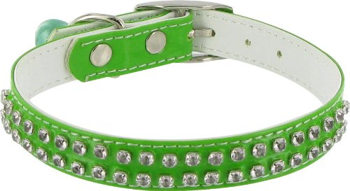 Rodeo Drive Rhinestone Dog or Cat Collar with Bell - Green, 1/2