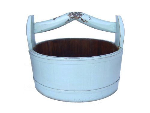 Antique Revival Wooden Round Vintage Bucket, Aqua (Antique Pitcher And Basin compare prices)