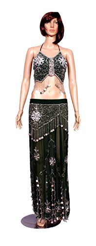 A 2pc Set of Green Hot Belly Dance Costume, Beaded Halter Top with Fringe and Full Circle Skirt Set