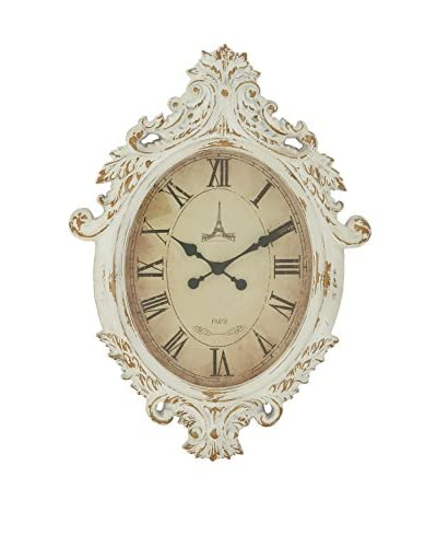 Wood Wall Clock, Antique White