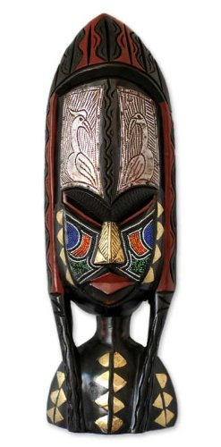 NOVICA Decorative Large African Rubber Wood Mask, Multicolor 'Shower Of Blessings'