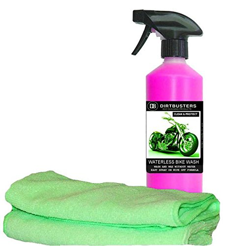 dirtbusters-waterless-motorbike-motorcycle-wash-and-wax-500ml-2-microfibre-cloths-bike-cleaner-easy-