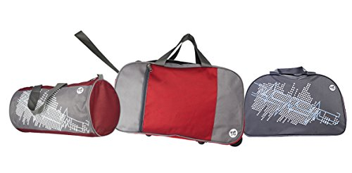 3G Set Of 3 Maroon Polyester Travel Duffle Bags(Duffle With Wheels,Drum Bag ,Air Bag)