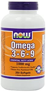 NOW Foods Omega 3-6-9 1000mg, 250 Softgels (Pack of 3)