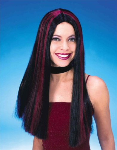 Black with Burgundy Streaks Gothic Wig