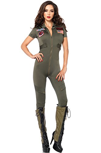 Sexy Top Gun Flight Suit Costume for Women - Small to X-Large - 4 Sizes