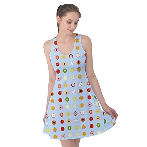 PattyPattern Womens Fruit Mini Icon Set Pattern Reversible Sleeveless Dress (l, light blue) (Fruit Ripener compare prices)
