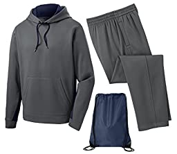 Sport Tek Men\'s Sport Wick Fleece Tracksuit, 3XL, Navy/Smoke Grey
