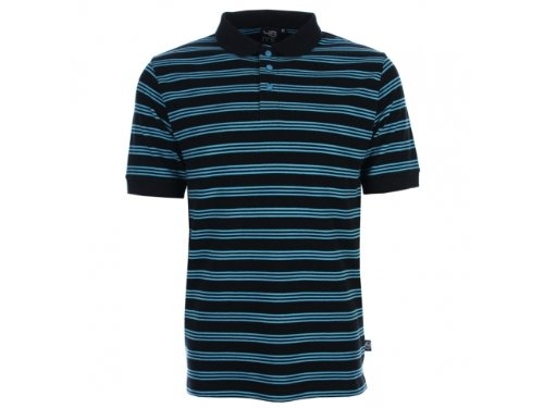 Men's 48hrs feeder polo shirt black and aqua stripe large