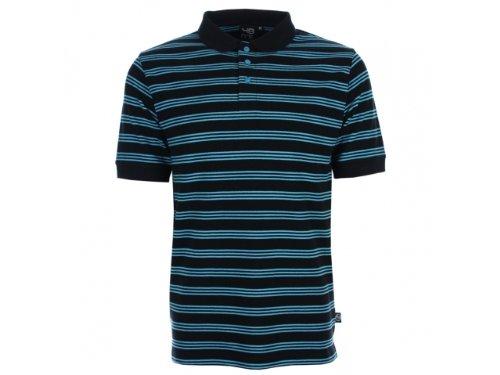 Men's 48hrs feeder polo shirt black and aqua stripe large