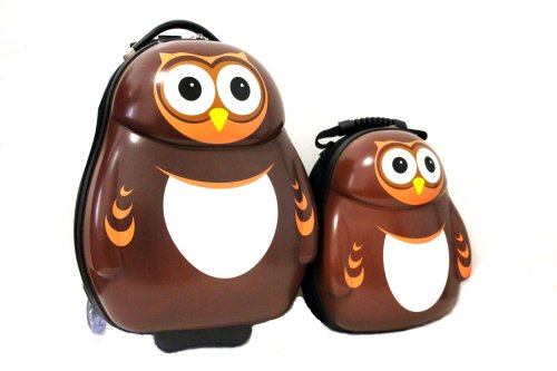 B00GKWOWFQ CUTIES AND PALS KIDS BOY GIRL 17″ CARRY-ON TROLLEY LUGGAGE + 13″ BACKPACK – OWL