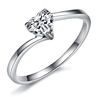 JSDY Stainless Steel Cubic Zirconia Heart Womens Silver Promise Purity Rings by JSDY