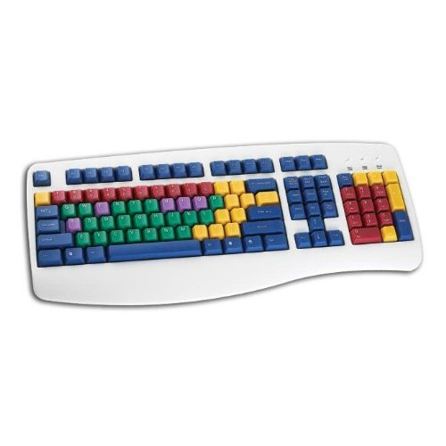 Chester Creek Cct Learningboard Usb Keyboard Color Coded Color-Based Mnemonic System Easy Touch-Typing Multi Color Keys With White Keyboard Frame