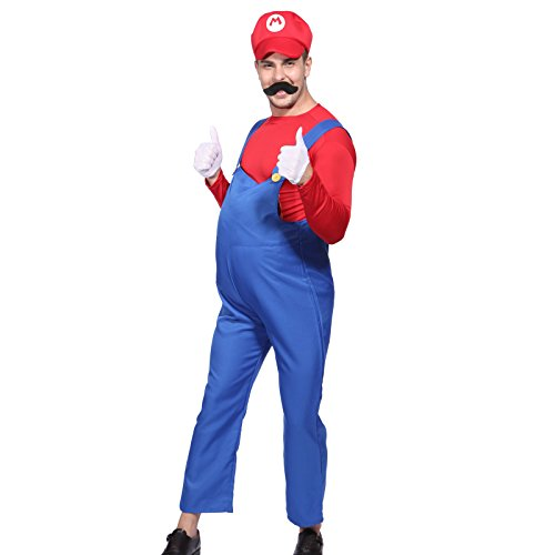 80s Men Super Mario Luigi Plumber Bros Workmen Video Game Fancy Dress Costume. Red or Green. Sizes up to XL.