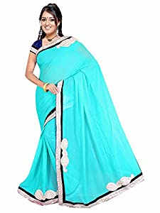 Winza best georgette fancy wedding saree for women girls wit embroidered work & velvet lace border & top exclusive great indian diwali utsav offers