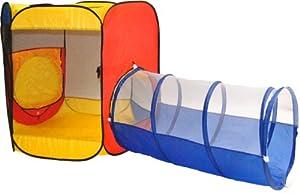 Six Sided Hexagon Twist Tent w/ Hide-N-Seek Crawl Tunnel & Carry Totes by eWonderWorld