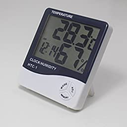 Top-spring LCD Display Temperature and Humidity Meter with Alarm Clock Hygrometer