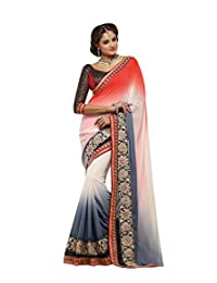 IndiWeaves Women Georgette Embroidered Red+White+Grey Saree.