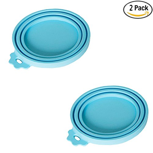 NALATI 2 Pieces Pet Food Silicone Can Lid Covers (Blue) (Silicone Can Lid compare prices)
