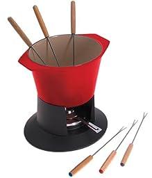 Le Creuset Enameled Cast-Iron 1-3/4-Quart Traditional Fondue Pot, Cherry