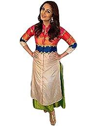 Kamela Saree Women's Silk Kurti (Humakureshi_Multi-Coloured_Free Size)