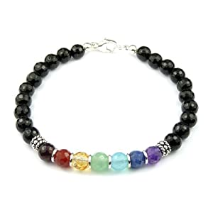 Chakra Bracelet: Black Faceted Onyx Chakra Bracelet with Garnet, Carnelian, Jade, Malachite, Turquoise, Lapis, Amethyst in Sterling Silver