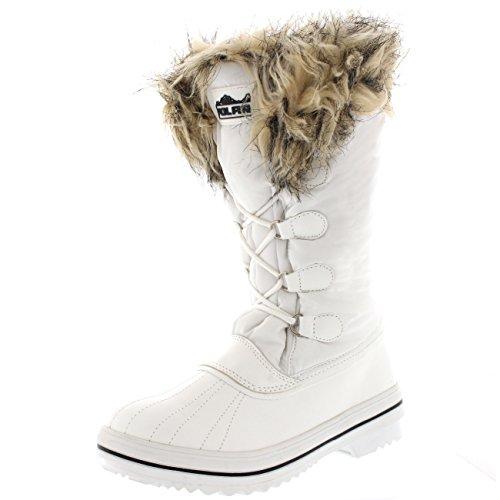 Donna Nylon Caldo Pelliccia Trim Anatra Pioggia Inverno Pioggia Stivali - WHI39 AYC0110