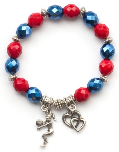 """""""Volleyball Girl"""" Girls Volleyball Bracelet (Team Colors Navy Blue & Red)-Small"""