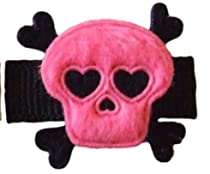 "Baby Skull Hair Clip (1 1/4"" snap clip for infants & babies, Pink & Black)"